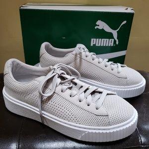 Puma Womens Basket Platform Perforated Grey 6.5